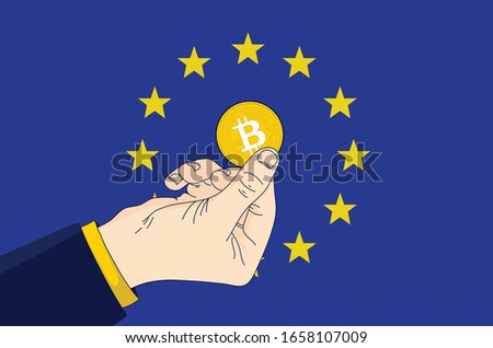 symbool · bitcoin · Blauw · vlag · regeling · valuta - stockfoto © artjazz