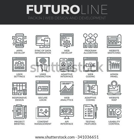 flat web development concept, , content, adaptive layout, user experience, wireframe, coding, intera Stock photo © kyryloff