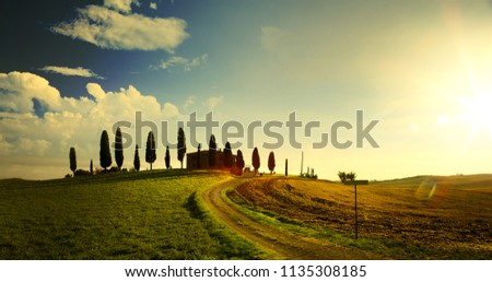 Tipik Toskana manzara gün batımı tepeler köy Stok fotoğraf © Konstanttin