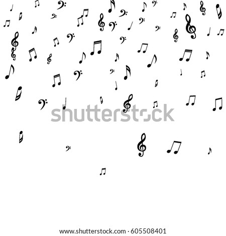 vector music illustration with falling notes and abstract color design on white background for invit stock photo © articular