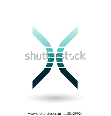 Persian Green Bow Shaped Striped Icon for Letter X Vector Illust Stock photo © cidepix