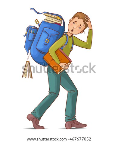 Child Is Carrying A Heavy Pile Of Books Vector. Isolated Illustration Stock photo © pikepicture