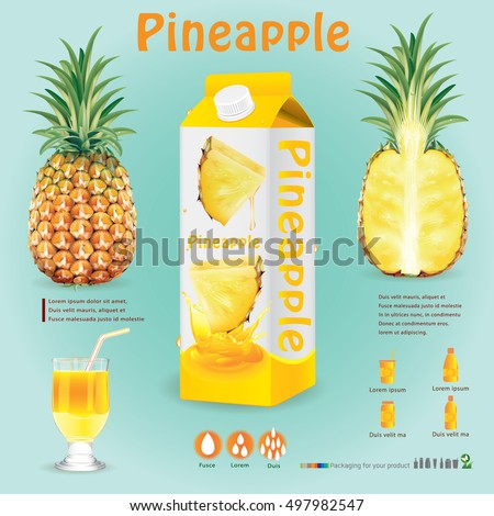 Stockfoto: Witte · karton · plakje · ananas · geheel · Blauw