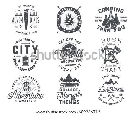 Stock fotó: Logo · embléma · klasszikus · kézzel · rajzolt · utazás · kitűző
