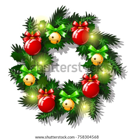 Christmas sketch with decor of fir twigs with red glass decorative balls, baubles, golden snowflake  stock photo © Lady-Luck