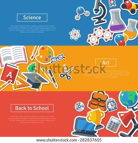flat back to school horizontal banners concept vector illustration design stock photo © linetale
