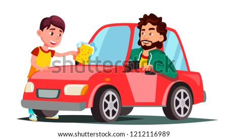 Boy With Sponge Washing The Window Of Car Vector. Isolated Illustration Stock photo © pikepicture