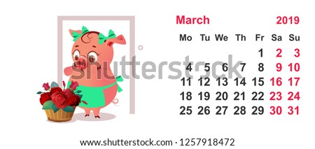 Pig housewife in apron and basket of flowers as gift. Calendar grid march 2019 year Stock photo © orensila