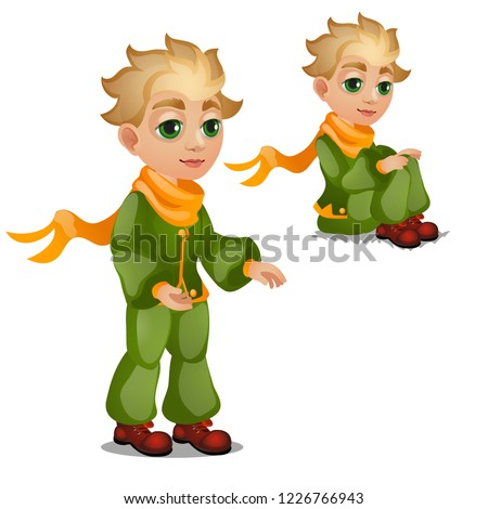 Animated blond boy in green clothes isolated on white background. Vector cartoon close-up illustrati Stock photo © Lady-Luck