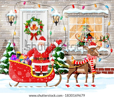 Merry Santa Claus and a deer decorated with Christmas decoration Stock photo © liolle
