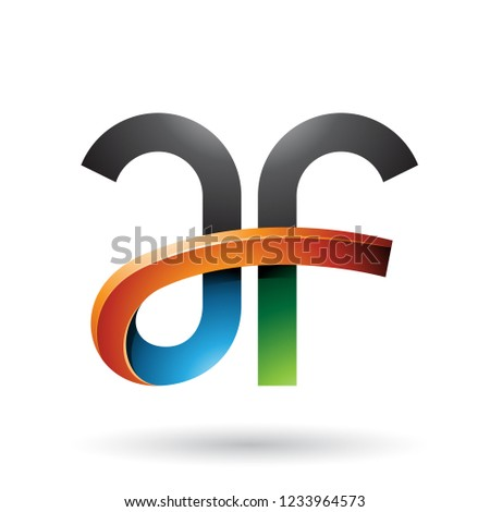Green Blue and Orange Bold Curvy Letters A and F Vector Illustra Stock photo © cidepix