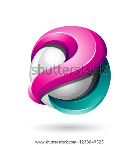 Magenta and Green Bold Metallic Glossy 3d Sphere Vector Illustra Stock photo © cidepix