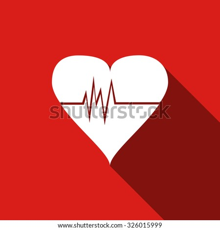 heart rate monitor color icon with shadow on a green background heartbeat stock photo © imaagio