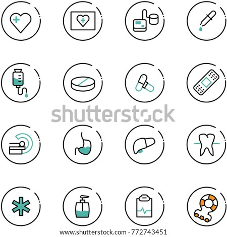 Medical tonometer icon with shadow on colored backgrounds. Blood pressure check Stock photo © Imaagio