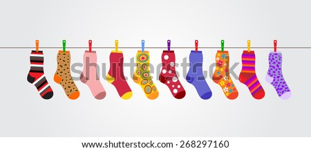 Set of hanging colored socks red and green colors isolated on white background. Sketch for greeting  stock photo © Lady-Luck