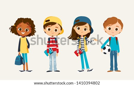 Boy Schoolboy Kid Poses Set Vector. Primary School Child. Cheerful Pupil. Teenager. For Postcard, An Stock photo © pikepicture