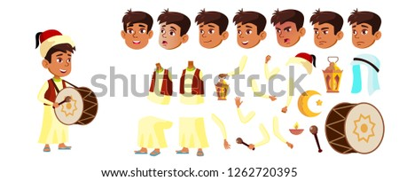 Arab, Muslim Boy Schoolboy Kid Vector. Celebrating Ramadan Kareem. Animation Creation Set. Young. Fo Stock photo © pikepicture