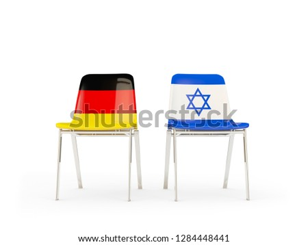 Kettő székek zászlók Németország Izrael izolált Stock fotó © MikhailMishchenko