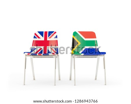 Two chairs with flags of UK and south africa isolated on white Stock photo © MikhailMishchenko