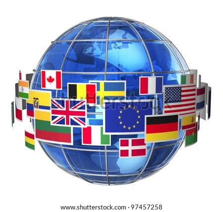 флагами вокруг Мир планете Земля мира Элементы Сток-фото © Wetzkaz