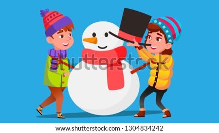 Ragazza ragazzo inverno vestiti muffa grande Foto d'archivio © pikepicture