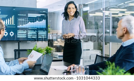 Businessman giving presentation with pie chart graph on board vector illustration. Stock photo © RAStudio