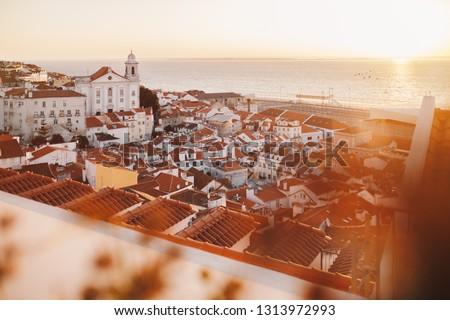 Sunrise Lisbonne vieille ville Portugal église or Photo stock © matimix