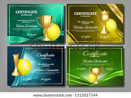 Tennis Certificate Diploma With Golden Cup Vector. Sport Award Template. Achievement Design. Honor B Stock photo © pikepicture