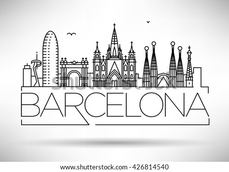Line art Sagrada Familia Barcelona, famous Spain cathedral, vector illustration in flat style. Stock photo © MarySan