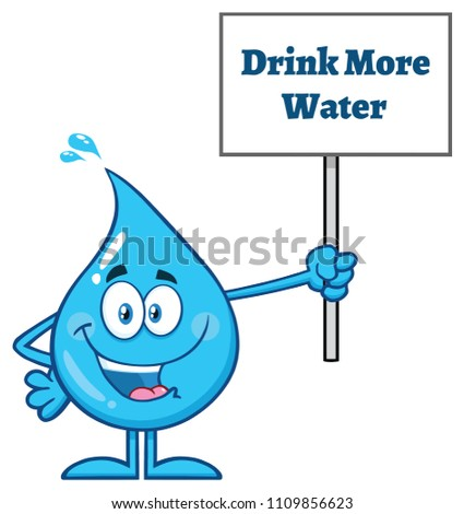 Blue Water Drop Cartoon Character Holding Up A Sign With Text Drink More Water Stock photo © hittoon