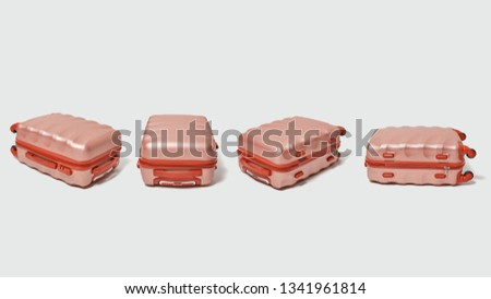 set of modern brown travel suitcases presented on a gray background with copy space tourism concept stock photo © artjazz