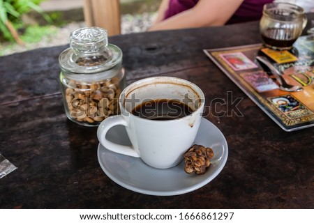 Kopi luwak or civet coffee, Coffee beans excreted by the civet BANNER, long format Stock photo © galitskaya