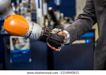 ロボット工学 ハイテク ロボット 手 ビジネスマン 署名 ストックフォト © pikepicture
