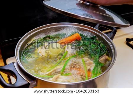 Ingredients for preparing bone broth - chicken meat and fresh ve stock photo © madeleine_steinbach