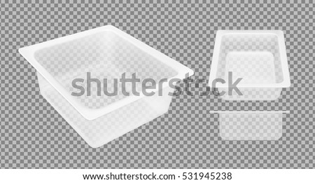 Plastic Tray Vector. Transparent Food Container Tray Wrap. Empty Product Polyethylene Mock Up Templa Stock photo © pikepicture