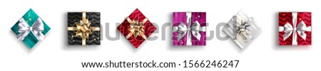Gift box set collection black and pink Vector realistic. Product placement mock up. Design packaging stock photo © frimufilms