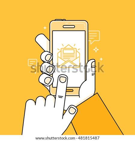Mobiele telefoon chat bericht lijn icon lineair Stockfoto © kyryloff