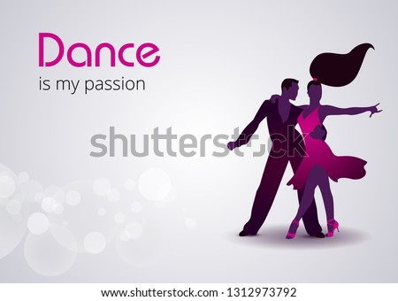 dance day party flyer design with couple dancing tango on shiny colorful background vector celebrat stock photo © articular