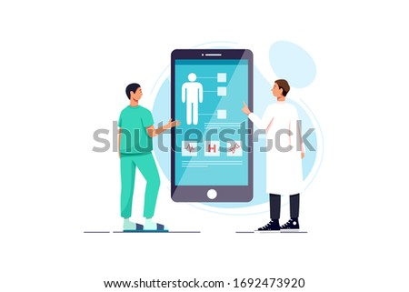 Flat design medical and pharmacy app. Health care concept. Modern template for mobile smart phone or Stock photo © makyzz