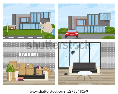 Smart House Vector flat style. Utilities icons. Architecture hom stock photo © frimufilms