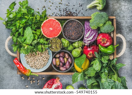 Variety of green vegetables and herbs. Clean eating food concept Stock photo © marylooo