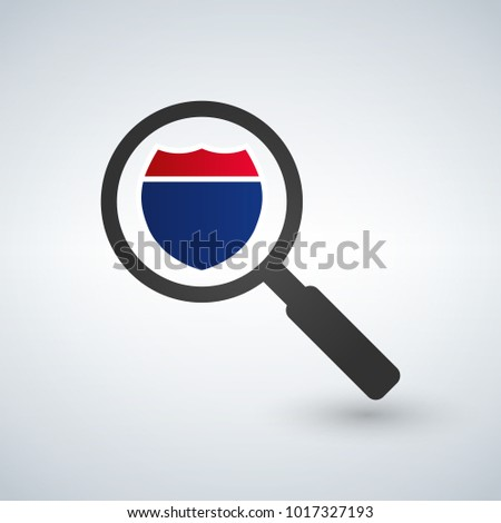 magnifying glass and interstate sign in flat style on a white ba stock photo © kyryloff