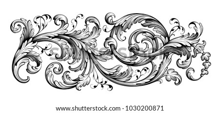 Vintage flourish ornament pattern Vector. Victorian Royal textur Stock photo © frimufilms