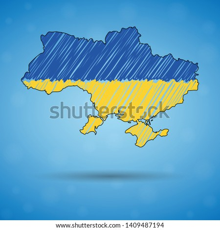Scribble map of Ukraine. Sketch Country map for infographic, brochures and presentations, Vector ill Stock photo © kyryloff