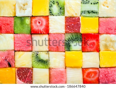pattern with yellow bananas, pineapples and juicy melon and wate Stock photo © Margolana