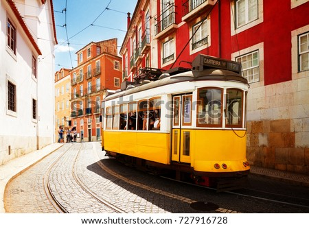 Vintage tram of Lisbon - symbol, Portugal, tramway in Lisbon emb Stock photo © Winner