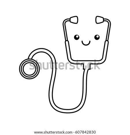 Cute smiling stethoscope, smiley Clinic and Cardiology pictogram. Vector illustration isolated on wh Stock photo © kyryloff