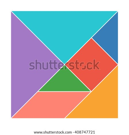 Tangram. Traditional Chinese dissection puzzle, seven tiling pieces - geometric shapes: triangles, s Stock photo © kyryloff