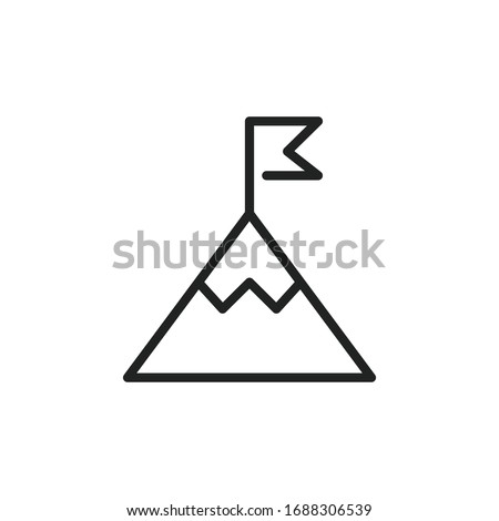 Flag on mountain top line icon, outline vector sign, linear style pictogram isolated on white. Achie Stock photo © kyryloff