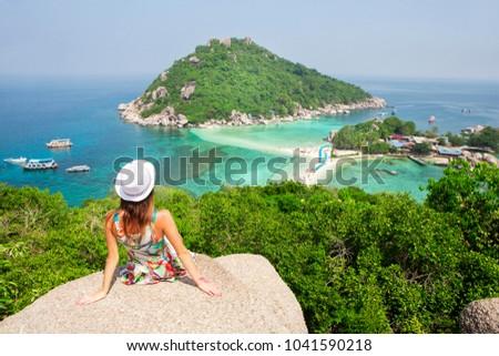 отпуск Тропический остров женщину Hat морем Сток-фото © galitskaya
